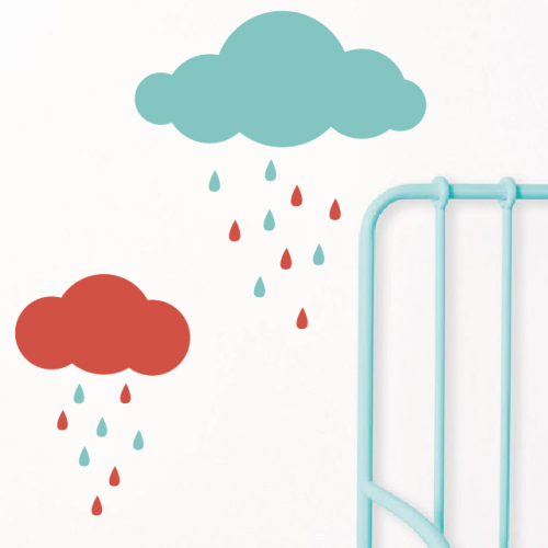 Clouds and Raindrops wall decals