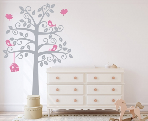 Tree with Birds and Cage Nursery Wall Decal
