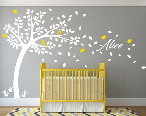 WhiteTree Flying Birds With Custom Name Wall Decals
