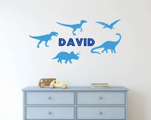 Dinosaurs Wall Decal With Name-Boy's Room Wall Decals