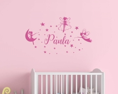 Fairies And Stars with Name Wall Decals