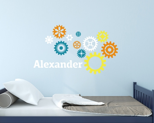 Wheel Gear With Personalized Name Wall Decals