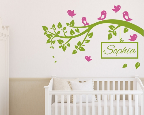 Birds Landing On The Branch  With Custom Name Wall Decals