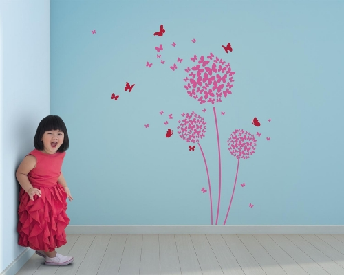 Blowing Dandelion Flowers Ball Wall With Butterfly Wall Decals