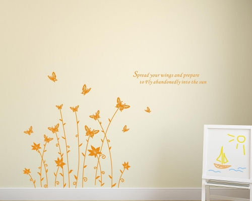 Orchid Flower and Butterflies Quotes Wall Decals