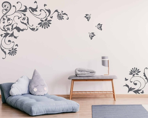 Lotus Flowers Vines Wall Decals