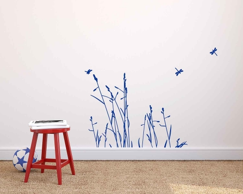 Reeds Flowers With Dragonfly In The Wind Wall Decals