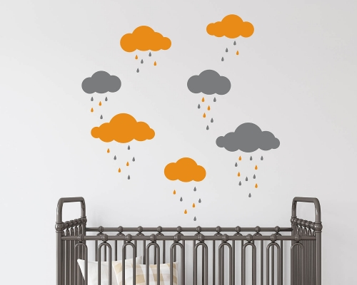 Clouds With Raindrops Wall Decals
