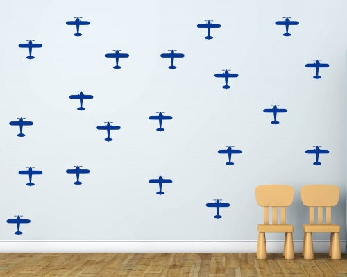 Set Of 56 Airplanes Pattern Wall Decals-Boy's Room
