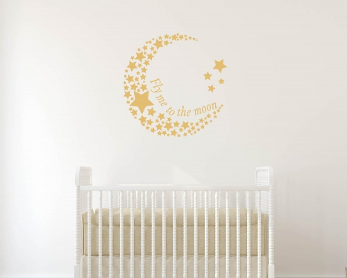 Moon and Stars Celestial Wall Decal Sticker