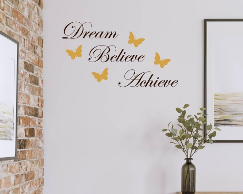 Dream Believe Achieve Quote Wall Decal With Butterfly