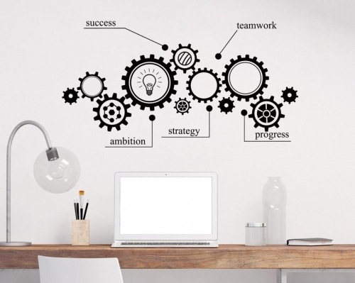 Gear Mechanism Engineering Wall Vinyl Decal Sticker Teamwork Office Wall Decal