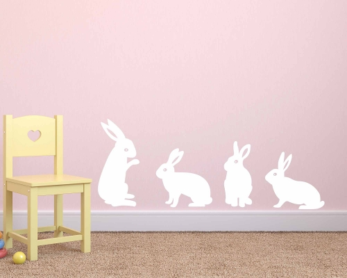Rabbit Wall Decal Sticker Set For Kids Bedroom
