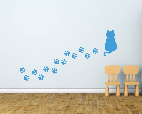 Cat With Footprint Wall Sticker
