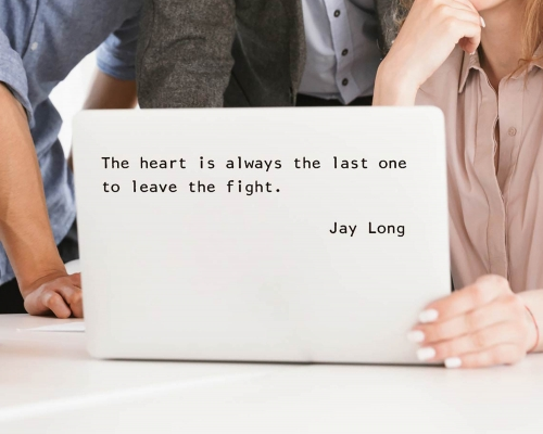 Quotes decal-The heart is always the last one to leave the fight for laptop and wall