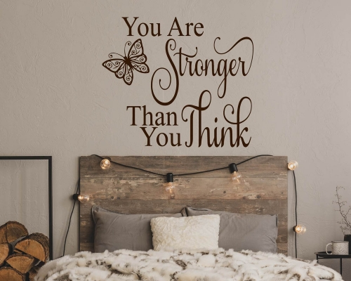 Wall Quotes Sticker -You Are Stronger Than You Think With Butterfly Wall Decal
