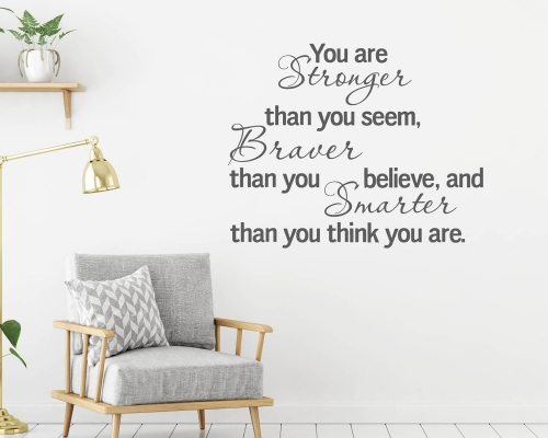Winnie the pooh Wall quotes stickere -You are Stronger Than you Think Sign  Winnie the Pooh Sign  You are Stronger Than you Think  Nursery Signs  Abov