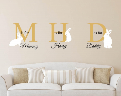Personalized Name Monogram Rabbits  Wall Sticker - Custom Name Wall Decal - Kids Name Wall Decal - Nursery Wall Decor
