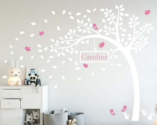 White Tree With Custom Name Wall Decals