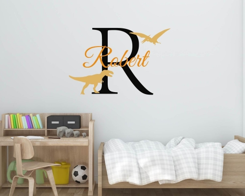 Personalized Name Wall Decal With Dinosaurs For Boy's Room