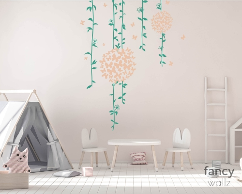 Flower Wall Stickers With Floral Ball