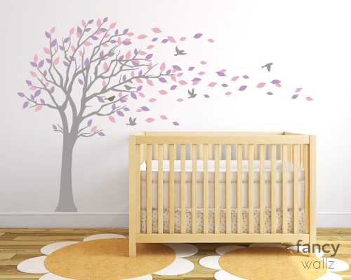 Tree Wall Decal With Blowing Leaves Wall Stickers