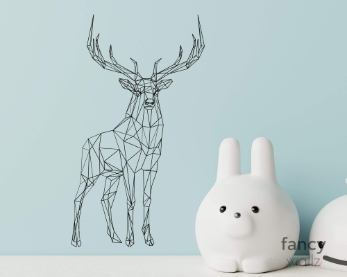 Large Geometric Deer Buck Wall Decal-Deer Animal Decal-Abstract Jungle Animal Reindeer Vinyl Wall Sticker-Playroom Home Decor