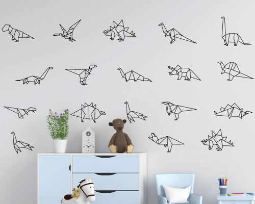Dinosaurs Collection Wall Sticker-Origami Dinosaurs Nursery Decal Art-Geometric Origami Dinosaurs Wall Decal Art-Dinosaurs Vinyl Sticke