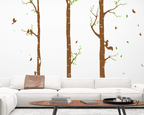 Birch Large Tree Wall Decal Nursery Forest Vinyl Sticker Removable Animals Branches Art Wall Stickers