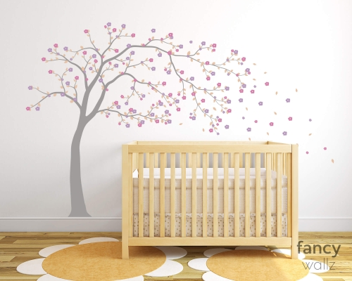 Blowing Tree Wall Decals Cherry Blossom Tree Wall Stickers
