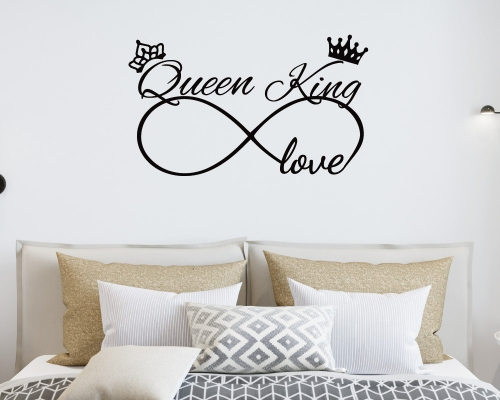 King And Queen Decor Master Bedroom Wall Decal-Husband Wife Wedding Couple Wall Decor Decal-Wedding Stickers