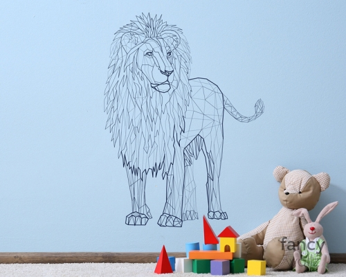 Geometric Lion Wall Decal-Abstract T-Lion Decal- Animal Jurassic Park Wall Sticker Vinyl Home Decor-Kids Room