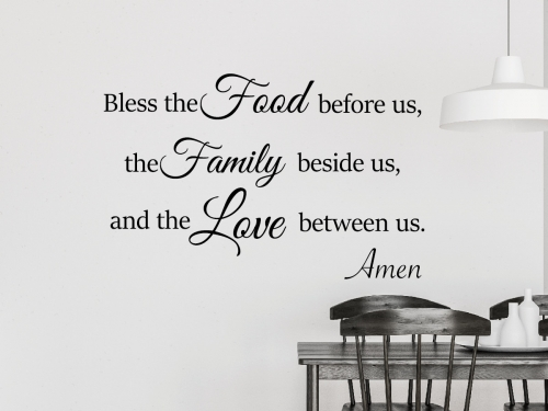 Kitchen And Dinning Room Wall Decal Bless the Food before us Decal